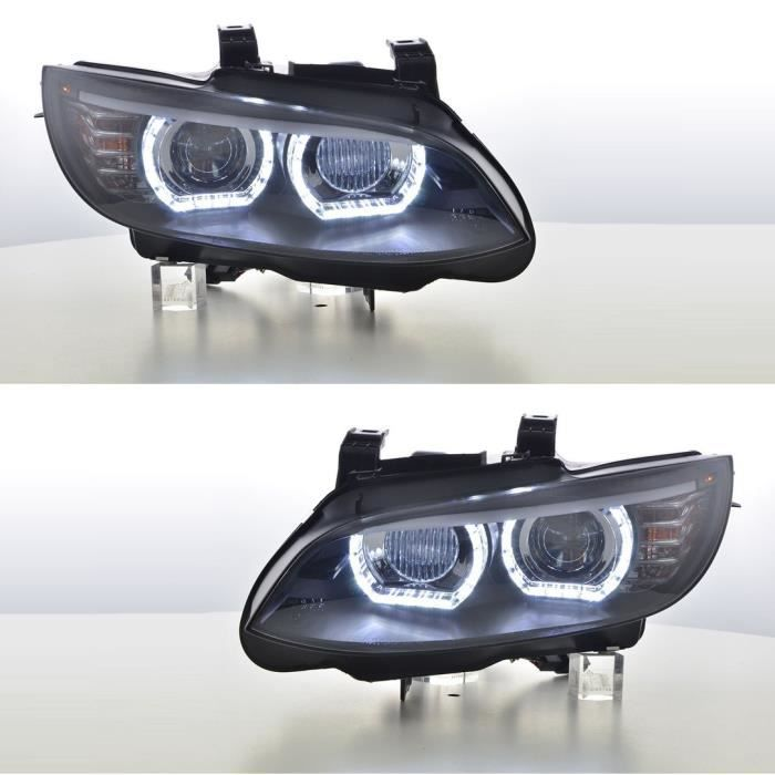 2 FEUX PHARE AVANT NOIR ANGEL EYES LED BI XENON D1S BMW SERIE 3 E92 E93 COUPE CABRIOLET 06/2006 - 02/2010