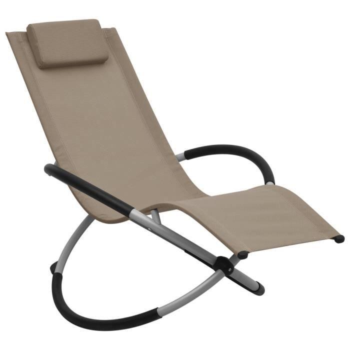 Chaise Longue de jardin Chaise de Relaxation Fauteuil Relax extérieur pour enfants Acier Taupe