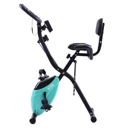 LARESDOMI Vélo d'Appartement Pliable X-Bike -120kg - G500- Bandes de Résistance Volant et Bras- Bleu