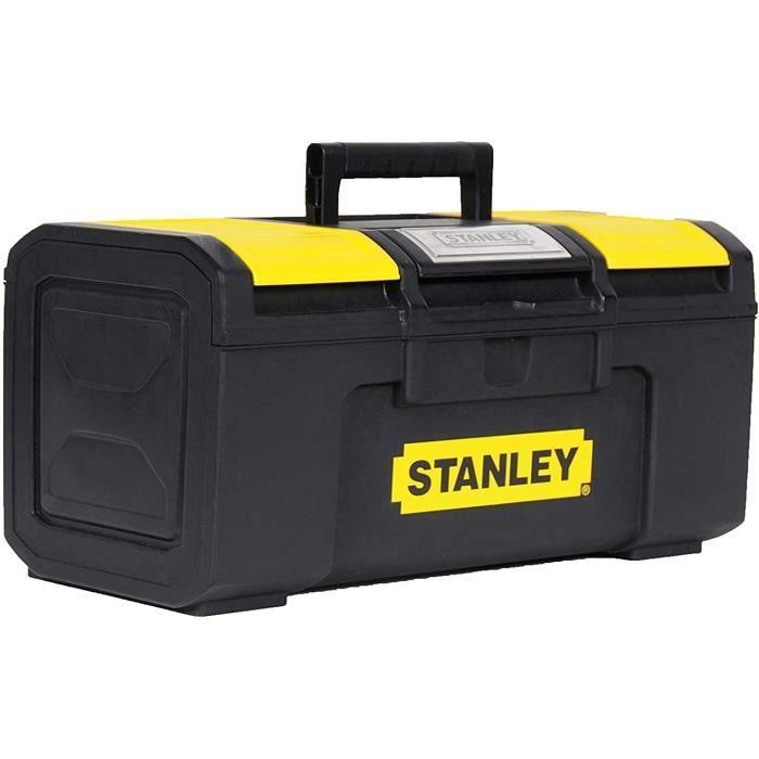 Stanley 1-79-216 Boîte À Outils 40 cm Ouverture 1 main - Structure Robuste - Plateau Porte-Outils mobile - Large Poignée Anti-Dérapa