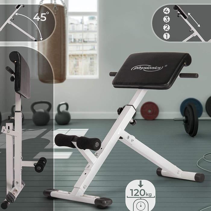 Banc de Musculation pour Dos - Pliable, Réglable en Hauteur (4 Positions), 45°, Charge Max. 120 kg - Appareil Hyper Extension, pour