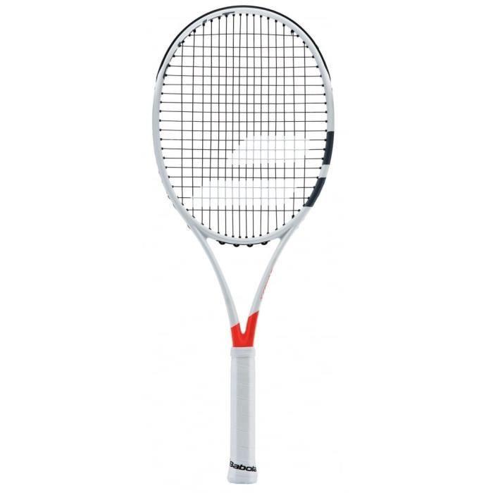Babolat Pure Strike 100 Strung Raquette de Tennis Unisexe Adulte, Pure Strike 100 Strung, Blanc-Rouge