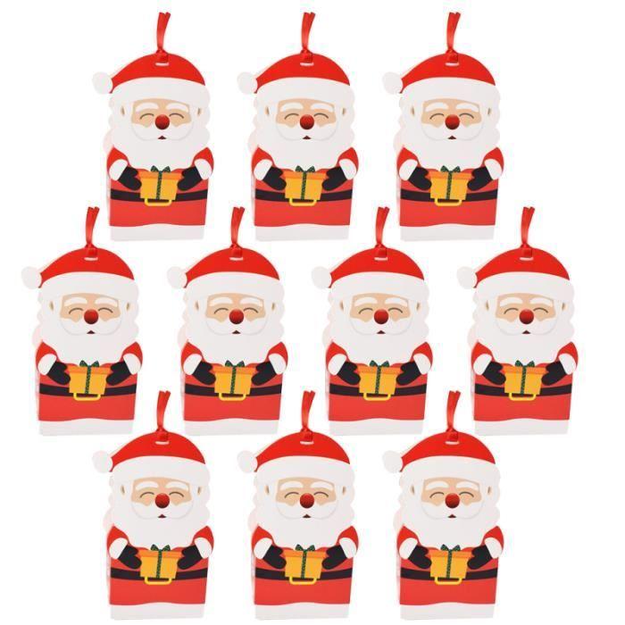 10pcs Boîte à bonbons de Noël de rangement Pendants suspendus Boîtes d'emballage cadeau bonbons cremeux confiserie chocolat