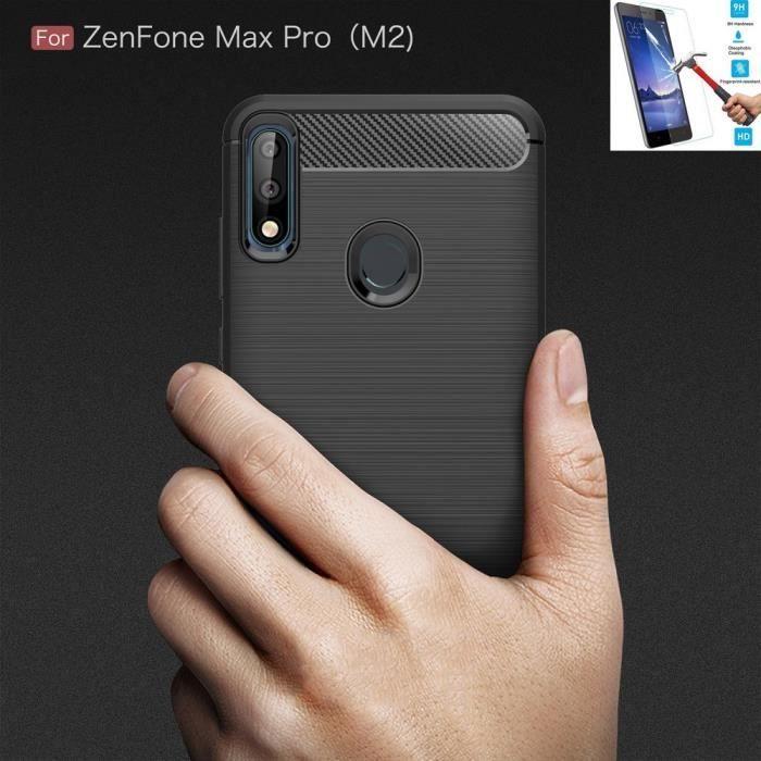 Coque Pour Asus Zenfone Max Pro M2 ZB631KL Carbone Noir + Film Verre Trempé Housse Etui En Silicone Gel Souple hfs-house®