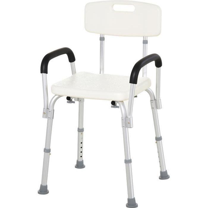 Chaise de douche siège de douche ergonomique hauteur réglable pieds antidérapants dossier accoudoirs amovibles charge max. 136 Kg...