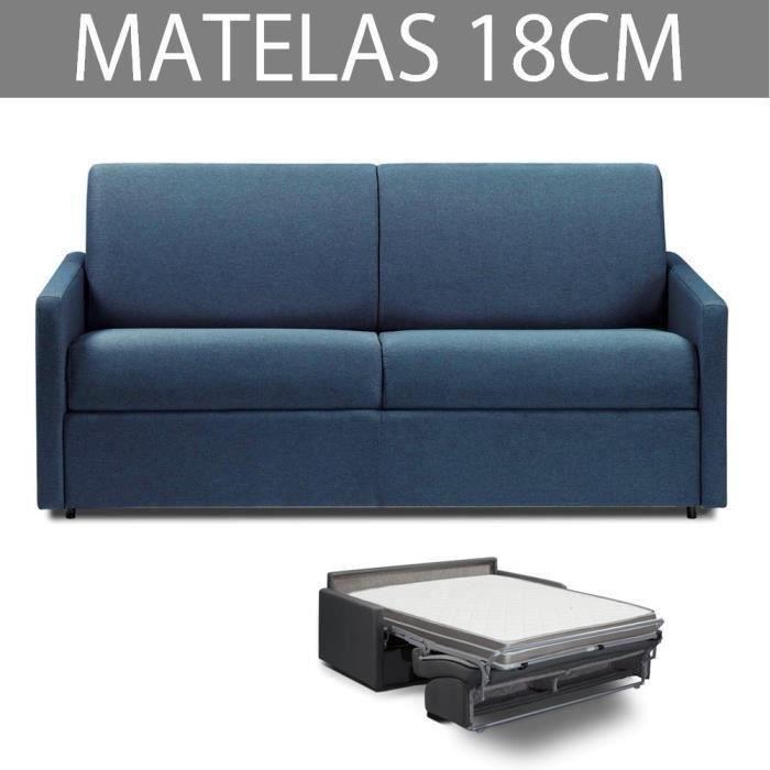 Canapé convertible EXPRESS 3 places en tissu tweed bleu marine - Couchage 140cm - Epaisseur matelas 18cm - ECLIPSE