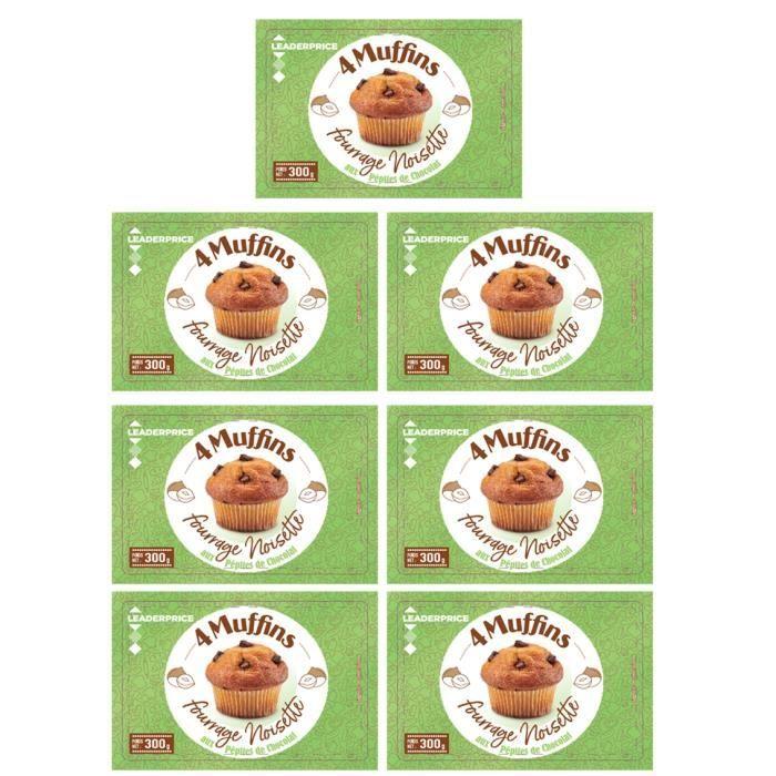[Lot de 7] Muffins saveur noisette aux pépites de chocolat - 4 pièces