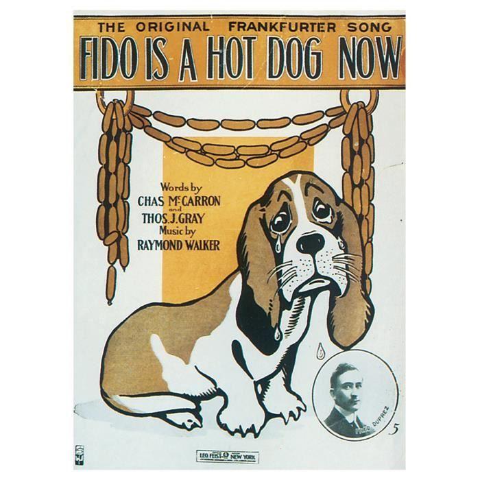 Legendarte -Couverture de Musique Vintage Fido Is A Hot Dog Now - Tableau, Impression Sur Toile cm. 50x70