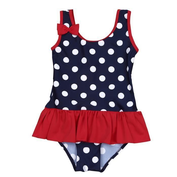 Bébé Fille Maillot de Bain 1 Pièce Tankini de Plage Enfant Bretelle Bikini à Pois 0 Mois -3 Ans