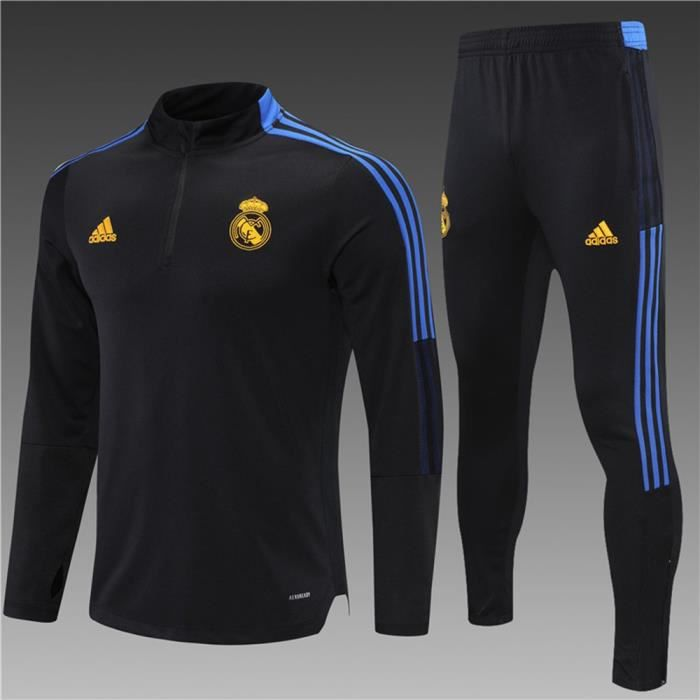 Maillot Foot Adidas Real Madrid 2021 2022 Survêtements Foot Homme Enfants Nouveau - Noir