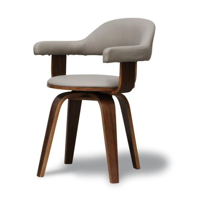 Chaise design polyuréthane taupe et bois massif…