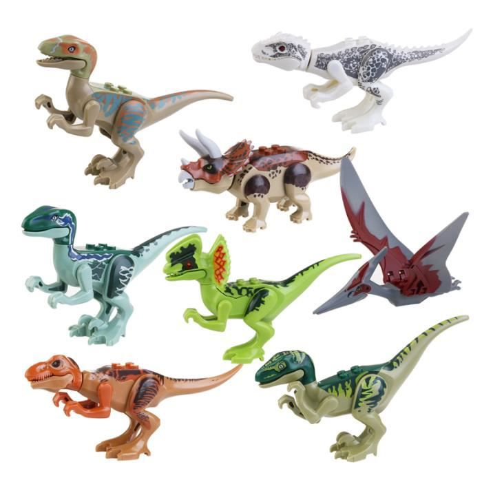8 pièces figurines de dinosaure Miniature ABS Jurassic Park World
