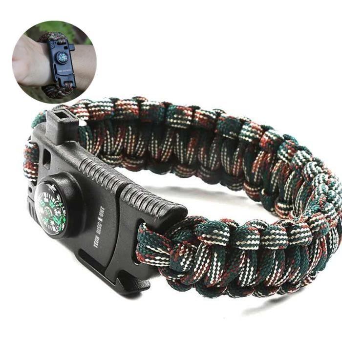 TD® Bracelet de survie militaire multifonction homme femme couteau boussole Haute Précision sports Plein Air Camping Randonnée flexi
