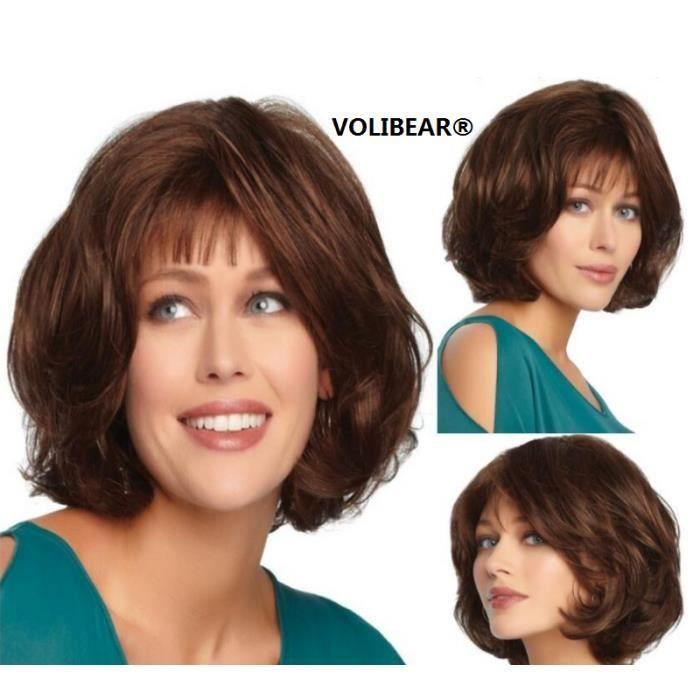 VOLIBEAR®Perruque Cheveux Naturels pour Femme Sexy Nouveau Air Bangs cheveux bouclés Brown Naturel Cheveux 1pcs