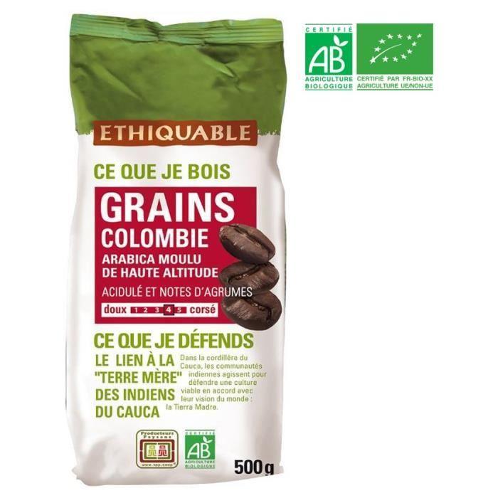 ETHIQUABLE Café en grains Colombie Bio - 500g