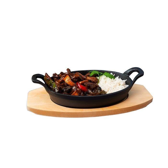 Zodiaque Plat Sizzle rond avec dessous de plat en bois, en fonte, noir, lot de 2: Cuisine & Maison