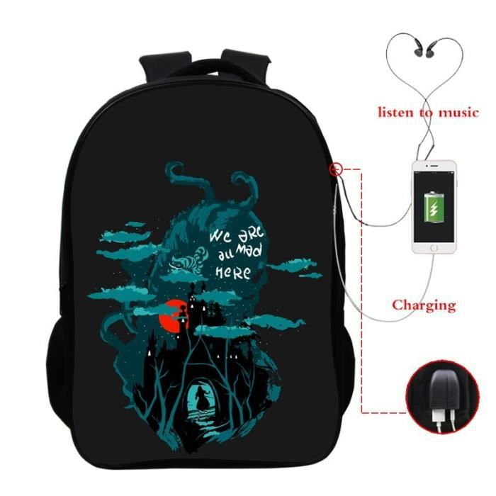 SAC A DOS we are all mad here Sac à dos Voyage Fashion Garçons Filles Hommes Femmes Sac décole Cool