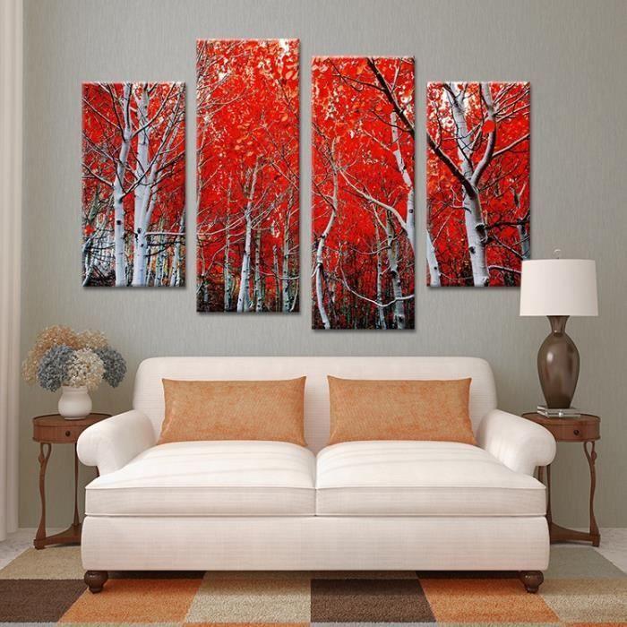 érable Rouge Feuilles Peinture à L Huile Mur Art Maison
