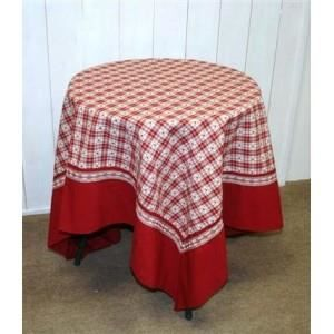 nappe carreaux rouge et coeur coloris rouge taille 100x100cm achat vente nappe de table. Black Bedroom Furniture Sets. Home Design Ideas