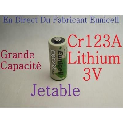 pile cr123a 3v lithium 1500mah eunicell achat vente piles cdiscount. Black Bedroom Furniture Sets. Home Design Ideas