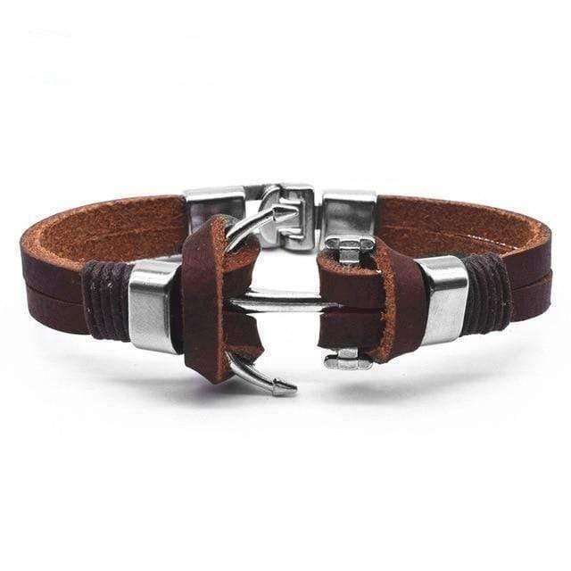 BRACELET - GOURMETTE Bracelet homme-Ancre-cuir véritable12009388539951