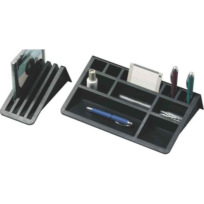Set de bureau avec support cartes noir achat vente for Set de bureau fantaisie