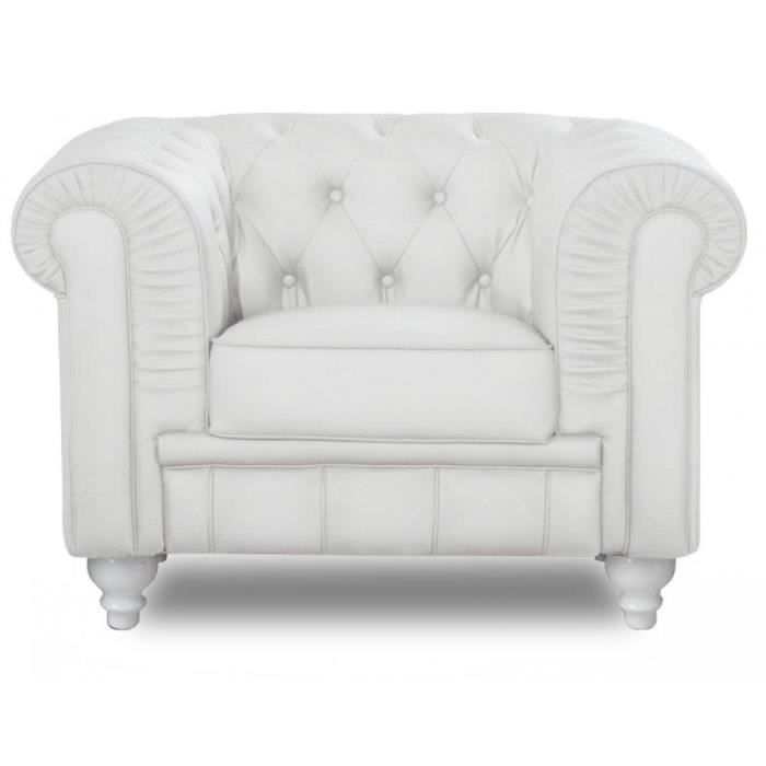 fauteuil chesterfield royal blanc capitonn achat. Black Bedroom Furniture Sets. Home Design Ideas