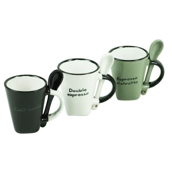 3 tasses expresso avec cuill res achat vente service th caf cdiscount. Black Bedroom Furniture Sets. Home Design Ideas