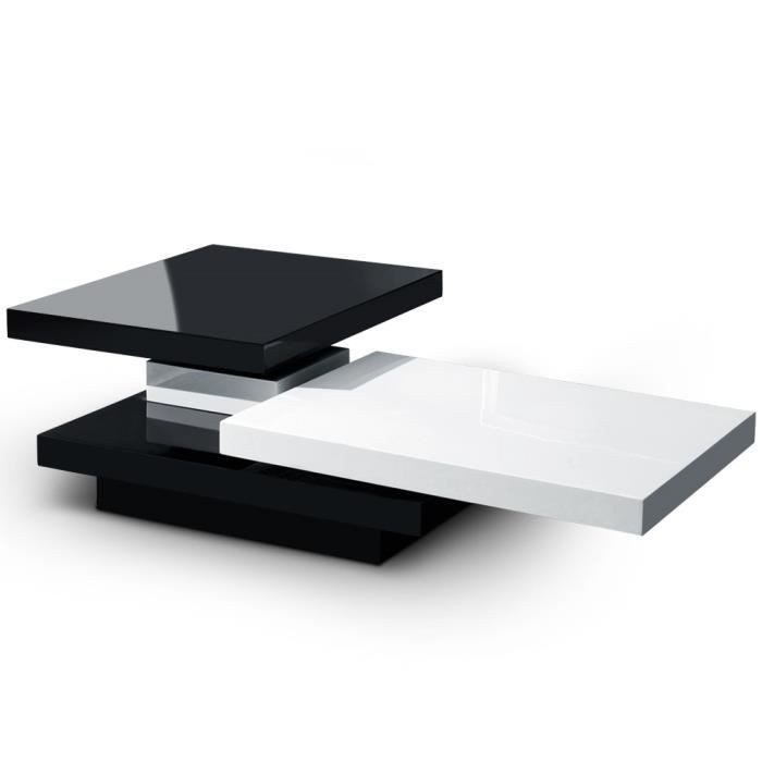 Table basse domino bicolore noir et blanc achat vente for Table noir et blanc