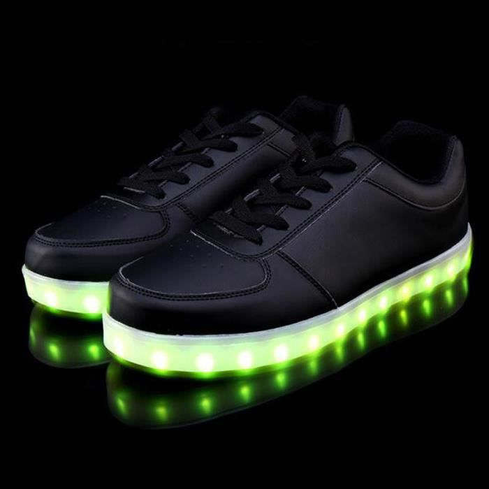 Chaussure LED Lumineuse 7 Couleur Unisexe Homme Femme USB Charge LED Chaussures clignotante Basket KIANII® Noir 9Gtiq1