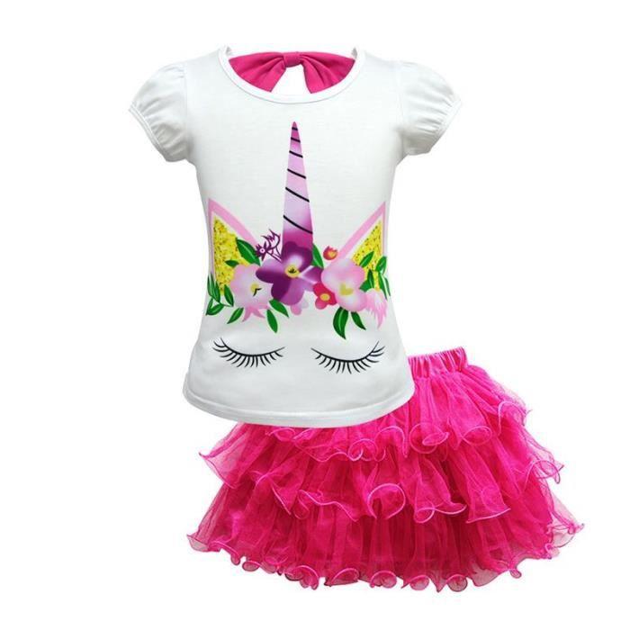 T-SHIRT Ensemble de Vetement Enfant Fille T-shirt Licorne