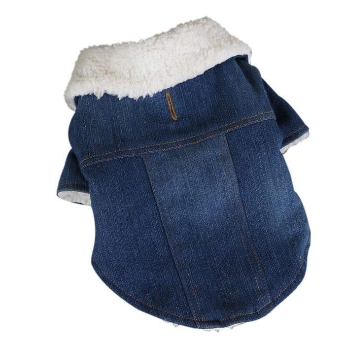 Chien Jeans Denim Jean Vêtements pour Animaux Chiens d'hiver de Veste Compagnie Bleu Manteaux Manteau en Froid Petits Moyens en OXTPkZiu