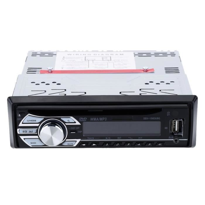autoradio cd dvd mp3 voiture radio st r o lecteur audio r cepteur au tableau de bord fm aux usb. Black Bedroom Furniture Sets. Home Design Ideas