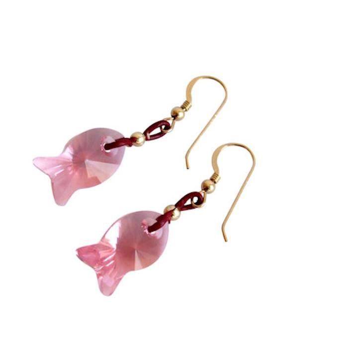 Gemshine - Dames - Boucles doreilles - Poisson - * * Light Rose - Rose - or - de SWAROVSKI ELEMENTS® - 2 cm