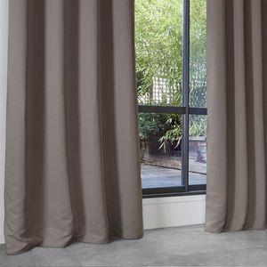 RIDEAU Rideau Occultant Uni en Polyester Taupe 140 x 260