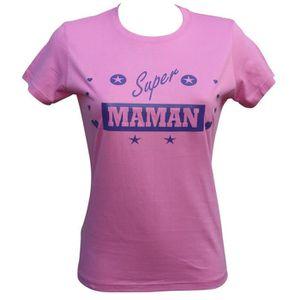 T-SHIRT T-shirt femme manches courtes - Super maman - rose