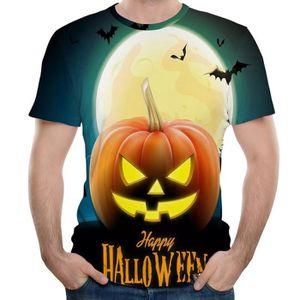T-SHIRT Halloween hommes citrouille t-shirt à manches cour