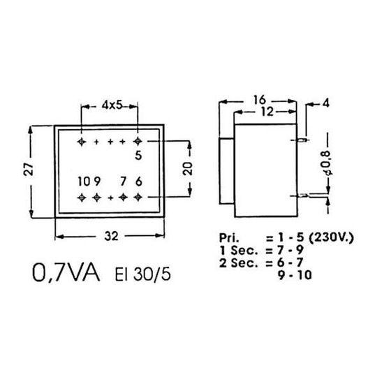 2 x 12V 2 x 0.209A TRANSFORMATEUR MOULE 5VA 220V