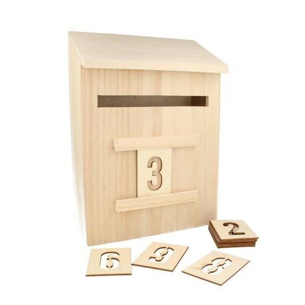 Boîte aux lettres en bois + chiffres - Artémio Marron