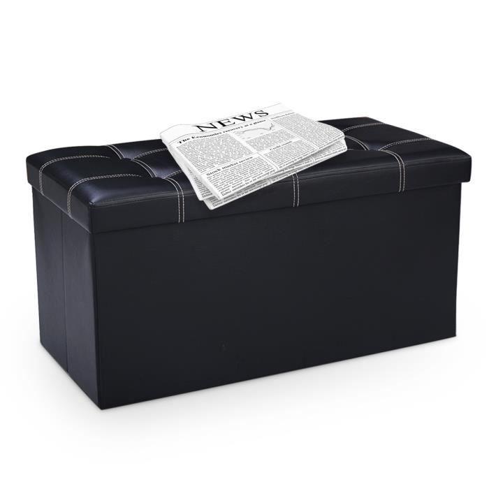 Dreamade Pouf de Rangement Pliable Multi-Fonction Tabouret Pliant de Stockage Coffre Cube Idéal pour Table de Café Repose-Pieds Noir