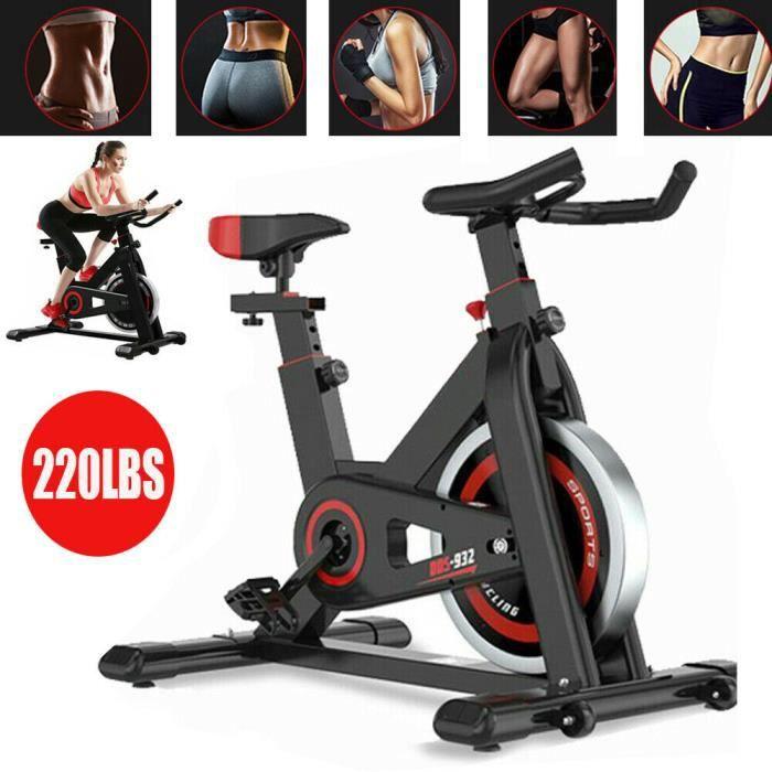 Vélo d'Appartement Cardio Vélo Spinning Appareil Fitness Sport Abdominal Dos Bras, Anti-Résistance, Capteur Cardiaque, LCD écran
