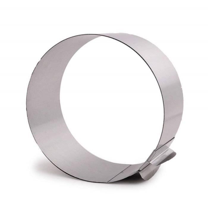 Moule Cercle à Gâteau Rond Extensible avec Echelle Acier Inoxydable (Diamètre Réglable de 16 à 30 cm)
