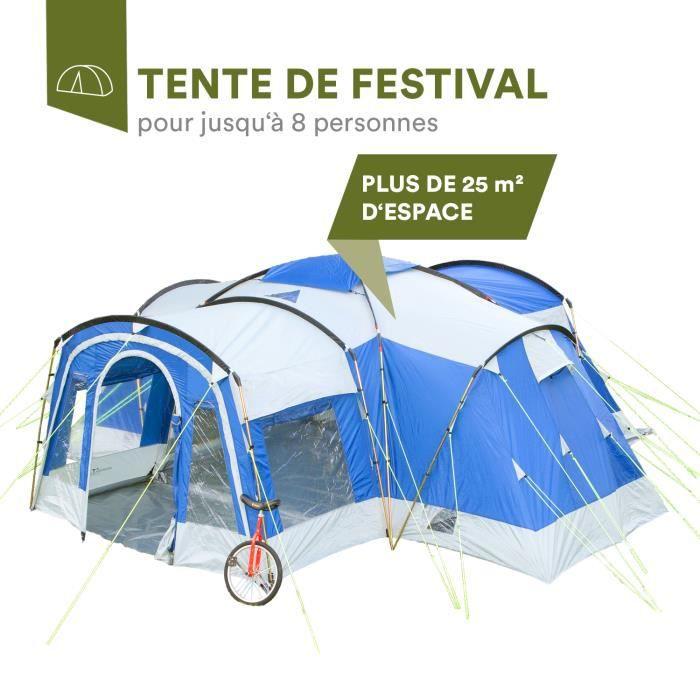 Skandika Nimbus 8 - Tente de camping tunnel familiale - 8 personnes - 615 x 605 cm - Bleu