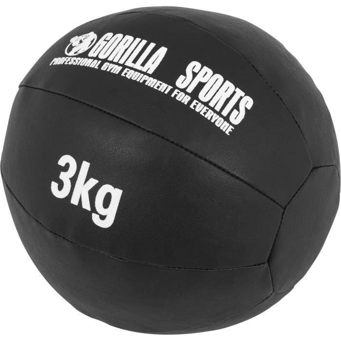 Médecine Ball Gorilla Sports Cuir Synthétique de 3 KG