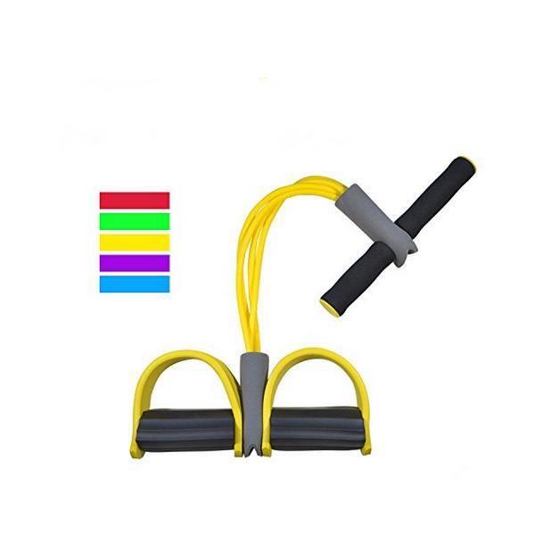 Appareil de gym 4 avec repose-pieds pour exercice - Rameur avec élastique Jaune