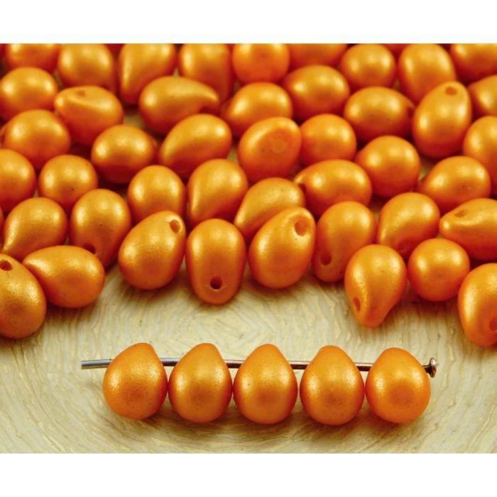 40pcs Or Briller le Minium Orange Rouge Nacré en forme de Larme tchèque Perles de Verre de 5mm x 7mm