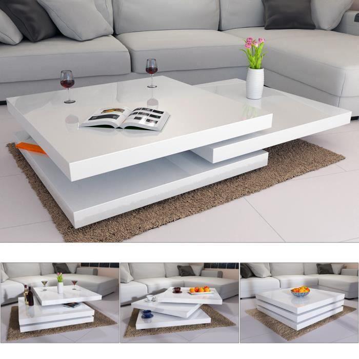 Table basse de salon moderne 80 x 80 cm - Blanc