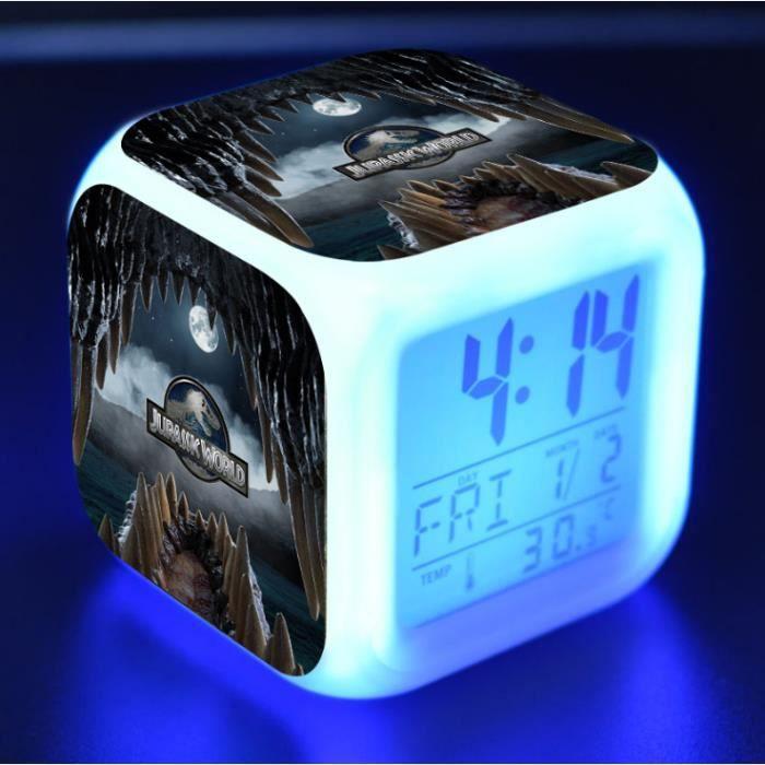 Jurassic World Lumineux LED Réveil - Heure, température, alarme, date - A