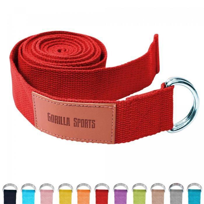 Sangle de Yoga Rouge - 100% coton - Sangle pour étirements - Fermetures en métal