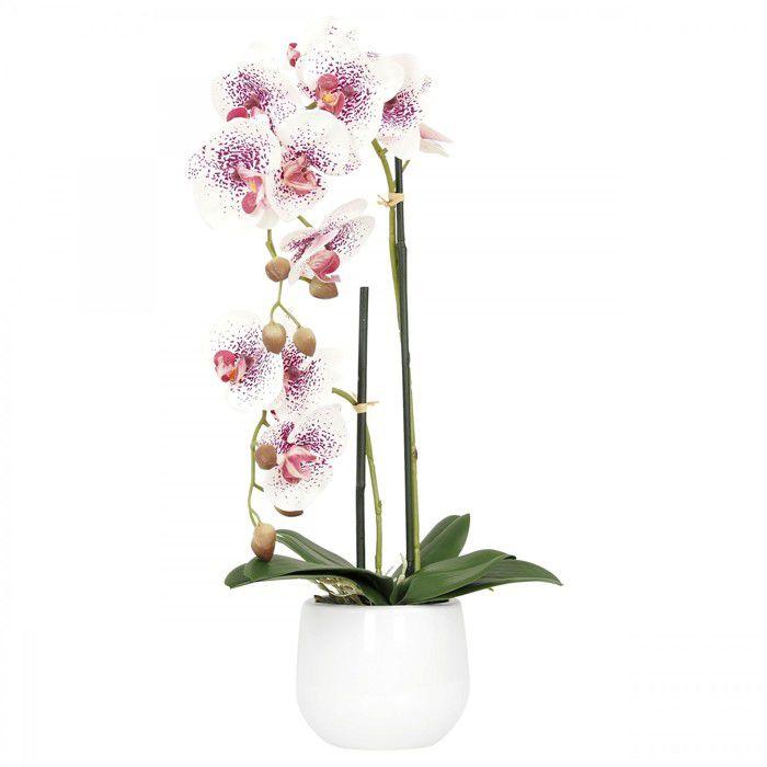 Ligne Déco - Orchidée blanche rose fuchsia artificielle - 51 cm - -toucher réel- - 2 branches en fleurs - pot céramique blanc -